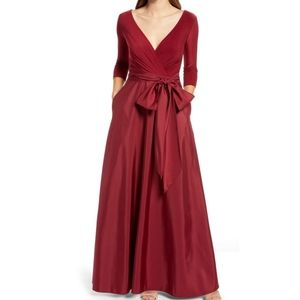 Alfred Sung Burgundy Mikado Jersey V Neck Gown